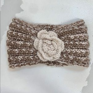 Knitted Winter Headband With Flower